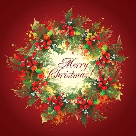 Christmas holly wreath with drops and sprays on a burgundy background. Stok Fotoğraf