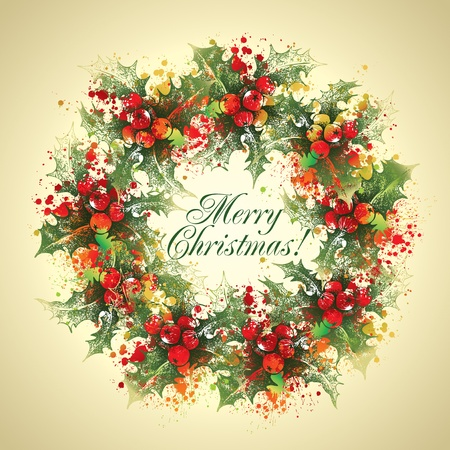 Christmas holly wreath with drops and sprays on a beige background.