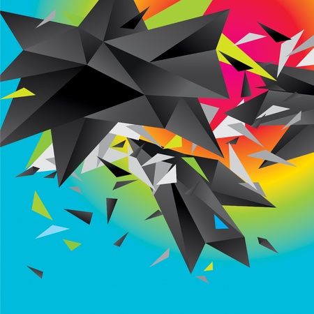 splinters: Modern abstract figure of black triangles surrounded flying splinters on a colorful background