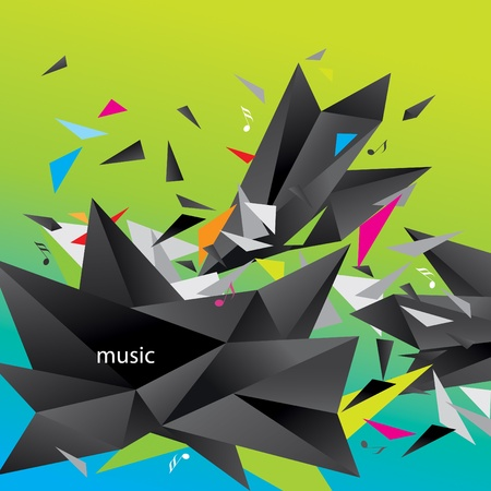 Modern abstract figure of black triangles surrounded flying splinters and notes on a colorful background. Vector