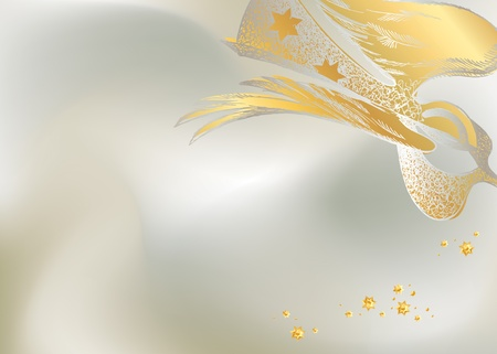 Silver Christmas background with the lacy figure of an angel. Vector illustration.