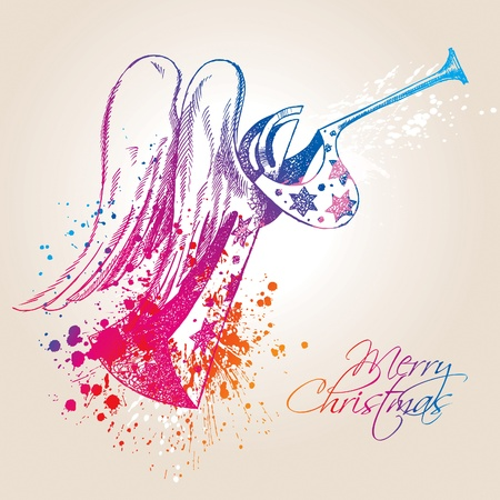 wing figure: A colorful Christmas Angel with drops and sprays on a beige background. Vector illustration.