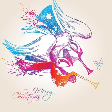 A colorful Christmas Angels with drops and sprays on a beige background. Vector illustration. Vector