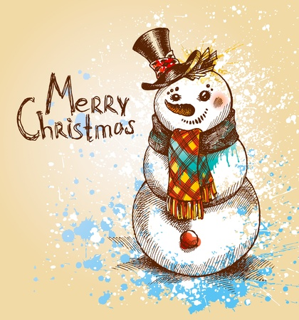 Christmas. Snowman. A sketch made by a pen with spots and sprays on a beige background. Vector illustration. Vector