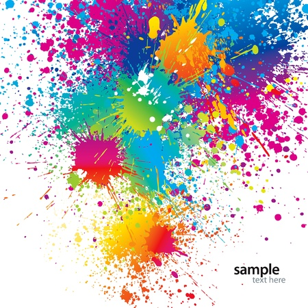 dripping paint: Background with colorful spots and sprays on a white. Vector illustration.