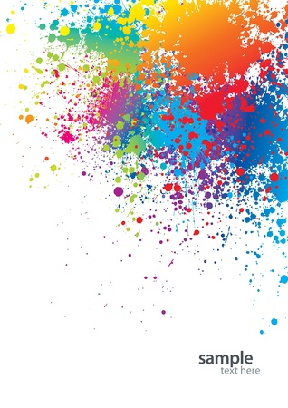 paint drips: Background with colorful spots and sprays on a white. Vector illustration.