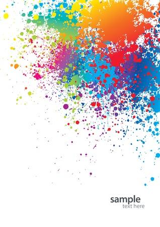 splash paint: Contexte avec des taches color�es et sprays sur un blanc. Vector illustration.