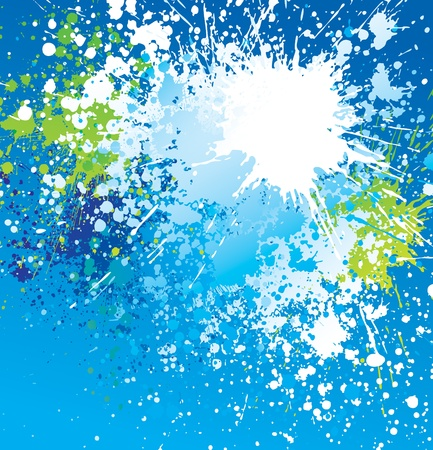 Background with white spots and sprays on blue. Vector illustration. Çizim