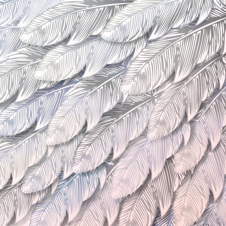 白い羽のシームレスな背景をクローズ アップ。ベクトル イラスト。