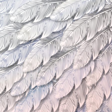 continuous: Seamless background of white feathers, close up. Vector illustration.