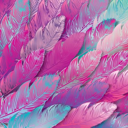 exotic: Seamless background of iridescent pink feathers, close up. Vector illustration.