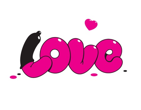 condom: Valentine card with lettering LOVE. For themes like love, valentines day, holidays. Vector illustration.