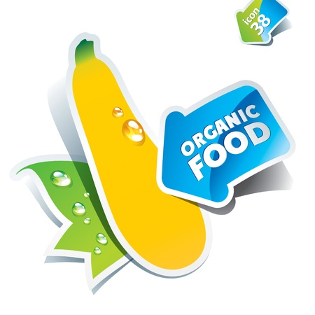 courgette: Icon zucchini with arrow by organic food. Vector illustration Illustration