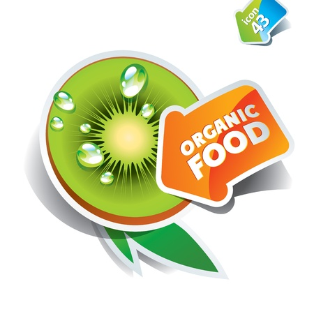 Icon kiwi with arrow by organic food. Vector illustration. Çizim