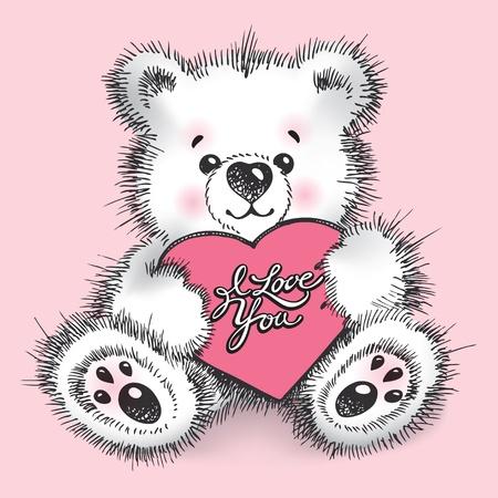 encantador: Hand drawn teddy bear with a heart in paws on a pink background. Vector illustration. Ilustração