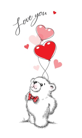 web2: Teddy bear keeps the balloons in the form of hearts on a white background. Hand drawn illustration, vector.