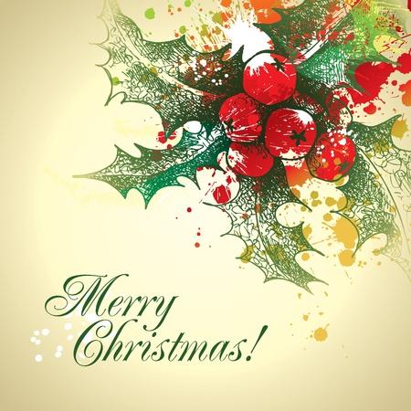 クリスマスのヒイラギを持つを削除し、ベージュの背景にスプレーします。ベクトル イラスト。  イラスト・ベクター素材