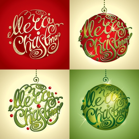 christmas card background: Christmas Card. Merry Christmas lettering by four styles of a writing and color. Vector illustration.