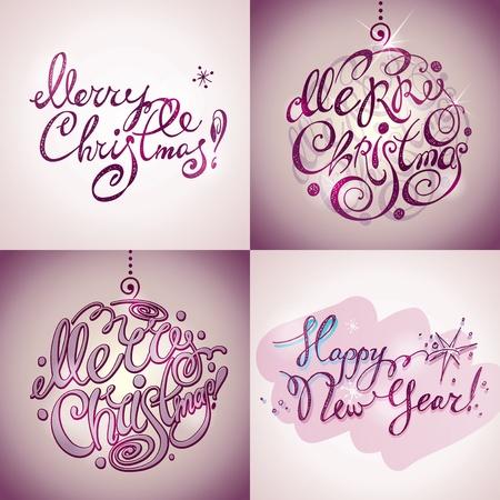 紫色の背景に執筆の 4 つのスタイル レタリングのクリスマス カード クリスマスと新年あけましておめでとうございます。ベクトル イラスト。  イラスト・ベクター素材