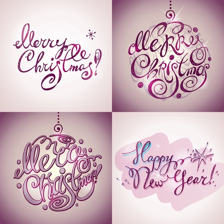 Christmas Card. Merry Christmas and Happy New Year lettering by four styles of a writing on a violet background. Vector illustration. Vector