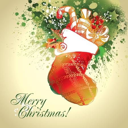 christmas sock: Una calza colorata di Natale con gocce e spray su fondo beige. Illustrazione vettoriale.