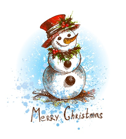 Christmas. Snowman. A sketch made by a pen with spots and sprays on a white background. Vector illustration.
