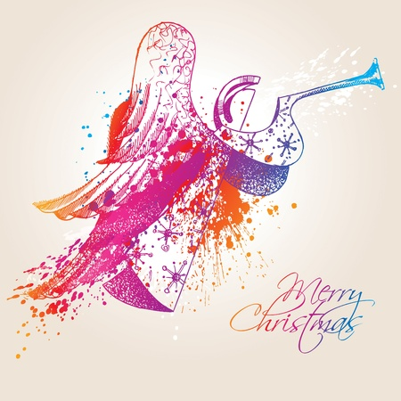 cartoon christmas eve: A colorful Christmas Angel with drops and sprays on a beige background. Vector illustration.