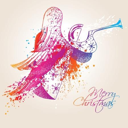 holy  symbol: Un Angel de Navidad coloridos con gotas y pulveriza sobre fondo beige. Ilustración vectorial.