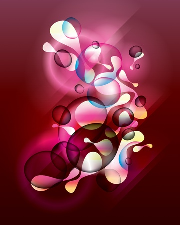morphing: Abstract vinous background with shining forms end drops. Vector illustration.