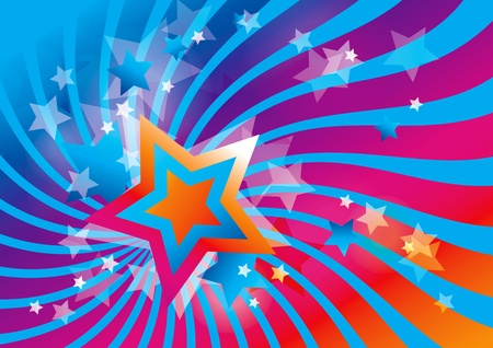Abstract background with stars and colorful waves Illustration