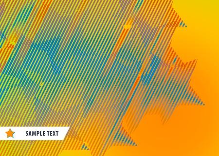 オレンジ色の背景の縞模様の星からの抽象的なパターン。ベクトル イラスト。