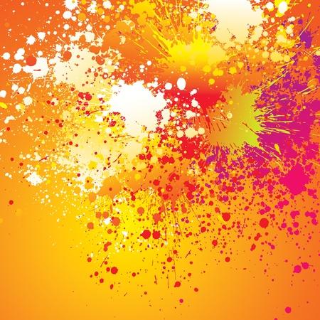 joyfulness: Colorful spots and sprays on orange background. Vector illustration.
