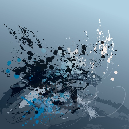 paint drip: Abstract grunge background with spots and sprays on gray. Vector illustration.