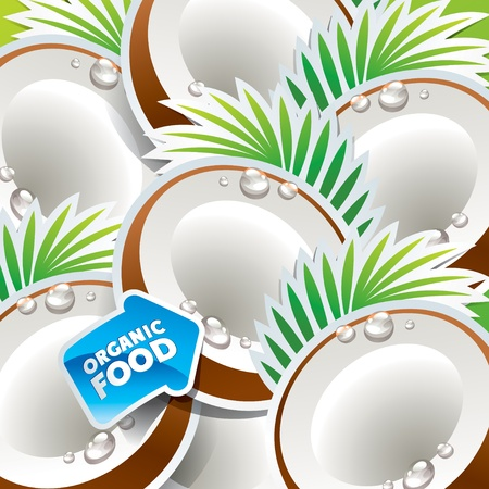 coco: Background from coconut with the arrow by organic food. Vector illustration.