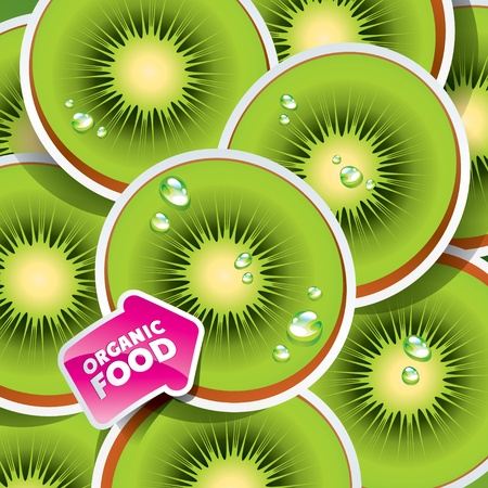 Background from kiwi with the arrow by organic food. Vector illustration. Vector