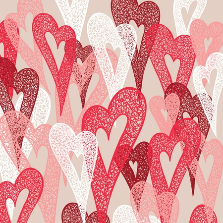 Background of colorful hearts. Hand drawn illustration, vector. Vector