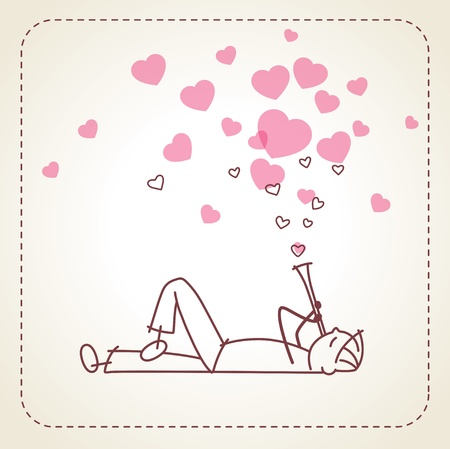 love blow: Valentine card with the boy who playing a pipe on the beige background. Vector illustration.