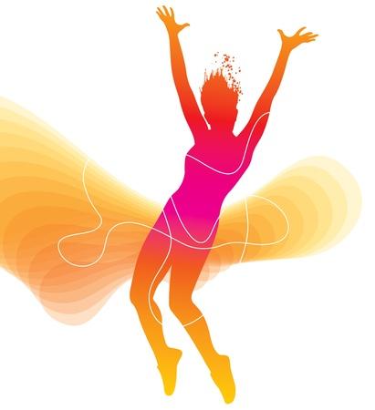 danza: El bailarín. La silueta de colores con las líneas y los aerosoles sobre fondo abstracto. Ilustración del vector.