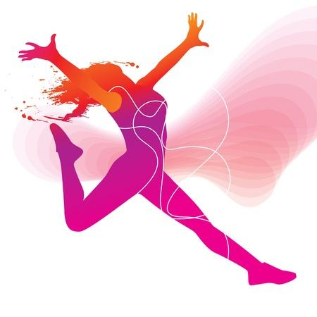 La bailarina. Silueta colorida con líneas y sprays sobre fondo abstracto. Ilustración vectorial.
