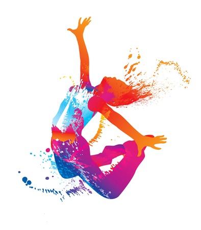 danza moderna: La chica bailando con manchas de color y las salpicaduras en el fondo blanco. Ilustración vectorial.