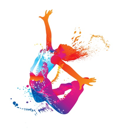 woman jump: The dancing girl with colorful spots and splashes on white background. Vector illustration.