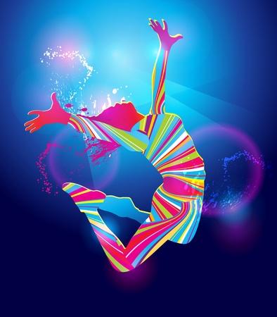 La ragazza balla con macchie colorate illuminazione notturna e spray su sfondo blu. Illustrazione vettoriale.