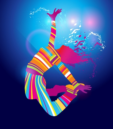 The colorful dancing girl floodlighting with spots and spray on blue background. Vector illustration. Vector