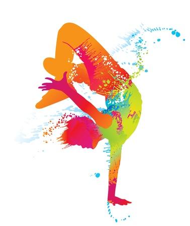 danza moderna: El chico bailando con manchas de color y las salpicaduras en el fondo blanco. Ilustración del vector. Vectores