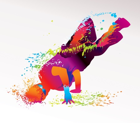 Il ragazzo a ballare con macchie colorate e spruzzi su uno sfondo chiaro. Illustrazione vettoriale.