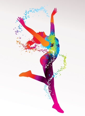 La ragazza balla con macchie colorate e spruzzi su uno sfondo chiaro. Illustrazione vettoriale. Vettoriali