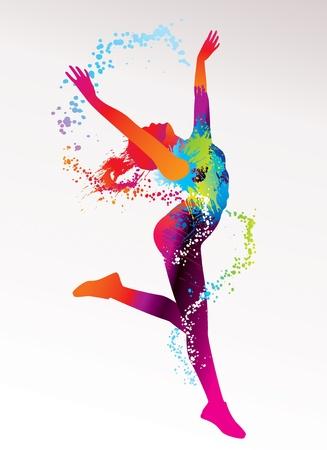 donna che balla: La ragazza balla con macchie colorate e spruzzi su uno sfondo chiaro. Illustrazione vettoriale. Vettoriali