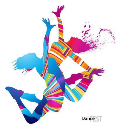 baile hip hop: Dos chicas bailando con manchas de color y salpicaduras sobre fondo blanco. Ilustración del vector.