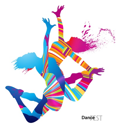 fest: Two dancing girls with colorful spots and splashes on white background. Vector illustration. Illustration