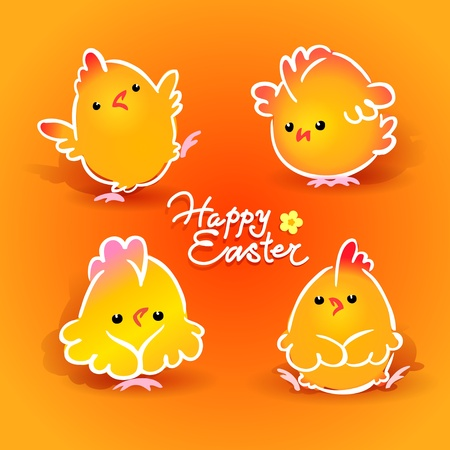 Easter card with four chickens (roosters and hens) on the orange background. Vector illustration. Çizim
